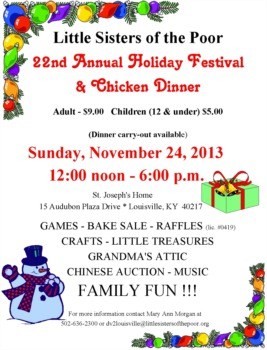 Little Sisters of the Poor Holiday Festival and Chicken Dinner November 24th
