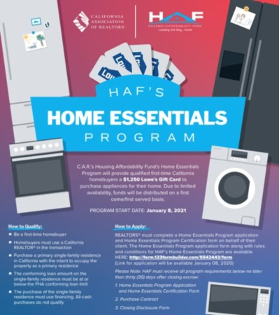 C.A.R's Housing Affordability Fund's Home Essentials Program - 1st Time CA Homebuyers Could Get $1,250 Lowe's Gift Card