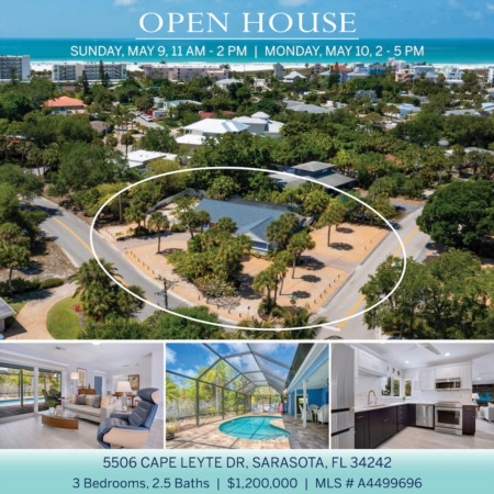 SEE IT FIRST! Newly Listed on Siesta Key and OPEN 5/9 SUNDAY 11AM-2 PM and 5/10 MONDAY 2-5 PM