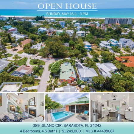 SEE IT FIRST! Newly Listed on Siesta Key and OPEN 5/16 SUNDAY 1-3 PM