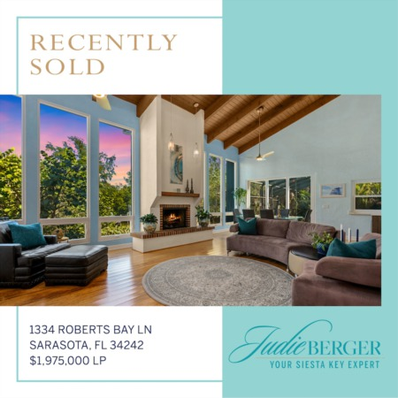 Recently Sold on Siesta Key: California Contemporary on Deep Sailboat Water
