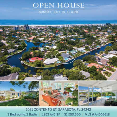 SEE IT FIRST! Newly Listed on Siesta Key and OPEN 7/18 SUNDAY 1-4 PM