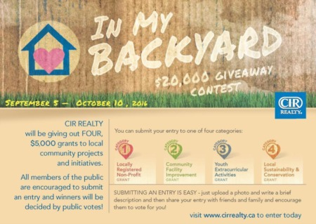 CIR REALTY Launching Community-Friendly 'In Your Backyard' Contest