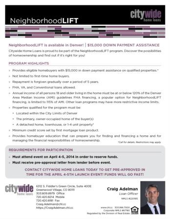 $15,000.00 Neighborhood LIFT Down Paymnet Loan!