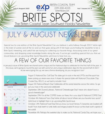 Brite Spots! Newsletter July & August 2021