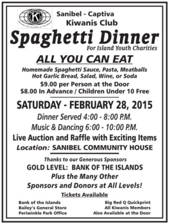 Sanibel Kiwanis Spaghetti Dinner - Day 16 of 100 Things to do on Sanibel & Captiva