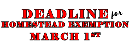 Deadline to Homestead in Florida is Monday, March 1st!