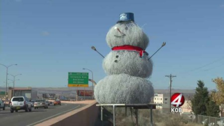 Tumbleweed Snowman Makes Debut in Albuquerque
