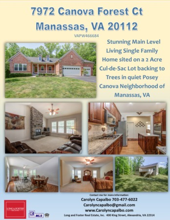 Stunning, Must See 7972 Canova Forest Ct. in Manassas, VA for Sale