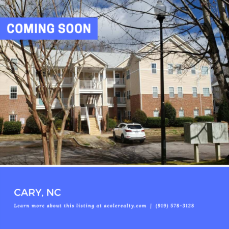*COMING SOON* Amazing 3rd Floor Condo in a highly sought-after Cary location convenient to Cary Greenway, I-40, RTP, and Raleigh. New Roof 2019!