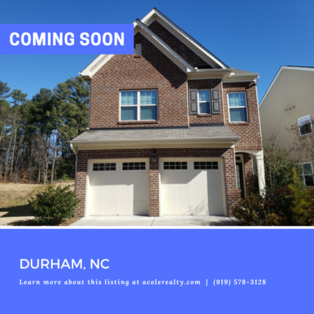 *COMING SOON* Amazing opportunity in the highly sought-after Durham community of Hanover Pointe.