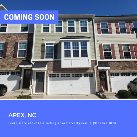*COMING SOON* Immaculate cul-de-sac townhome on a private wooded lot in the highly desirable Villages of Apex.