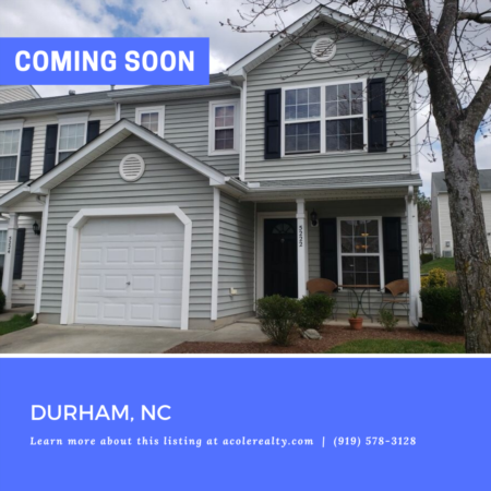*COMING SOON* Spectacular End Unit Townhome in a convenient Durham location close to RTP, RDU, Brier Creek, restaurants, and shopping.