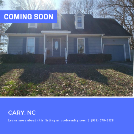 *COMING SOON* Charming cul-de-sac home in a spectacular Cary location convenient to RTP, SAS, I-40, schools, shopping, and restaurants!