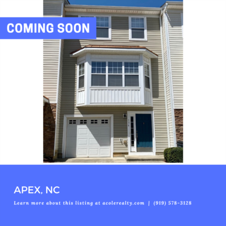 *COMING SOON* Three story townhome with 1 car garage in the highly sought-after community of Haddon Hall conveniently located minutes from Downtown Apex & Beaver Creek.