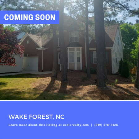 *COMING SOON* Amazing opportunity in a great Wake Forest location convenient to schools, shopping, and restaurants.