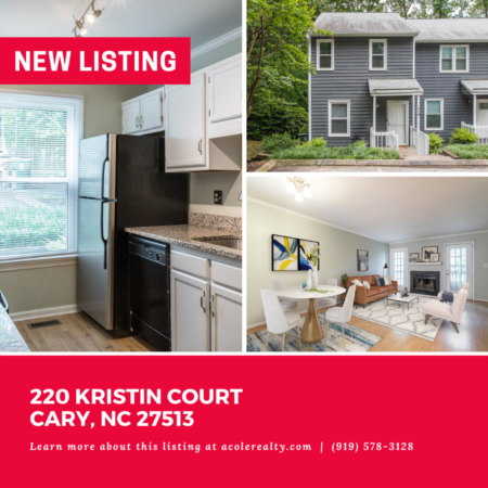 *NEW LISTING* End Unit Townhome in the heart of Cary close to downtown, shopping, and restaurants.