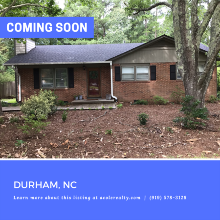*COMING SOON* Charming Ranch floor plan in a spectacular Durham location convenient to I-40, Southpoint Mall, RTP, and amazing restaurants.