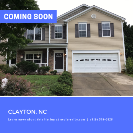 *COMING SOON* Attractive 3 bedroom home in a fantastic location with easy access to Clayton, Raleigh, and RTP.