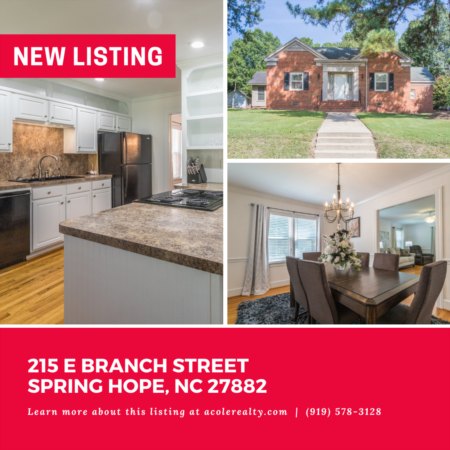 *NEW LISTING* Historic Charmer! Beautifully maintained brick Ranch home in the heart of downtown Spring Hope.