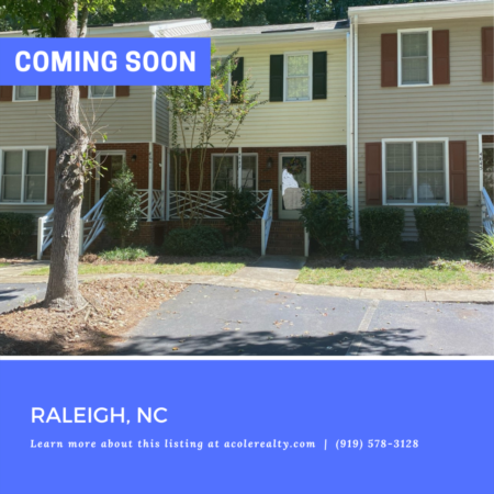 *COMING SOON* Immaculate Townhome Opportunity in an outstanding Raleigh location!
