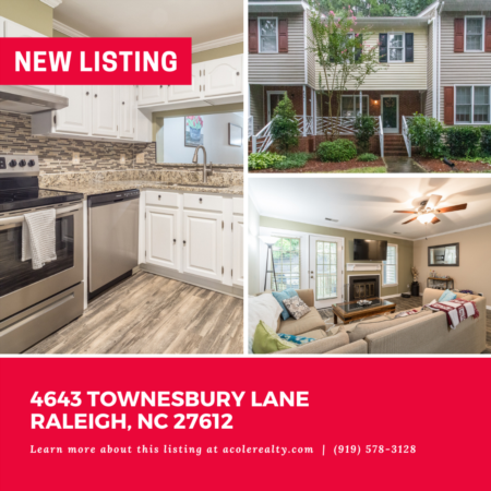 *NEW LISTING* Immaculate Townhome Opportunity in an outstanding Raleigh location!