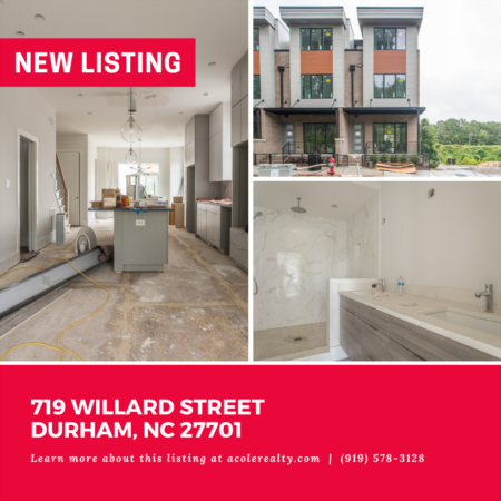 *NEW LISTING* Completion October 2021! This 3 bedroom Luxury End Unit Townhome features 10 Ft. ceilings, hdwd floors, fireplace, expansive windows, tons of natural light, and is steps away from The American Tobacco Campus & Downtown Durham.