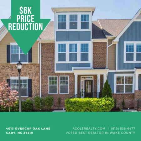 PRICE REDUCTION by $6k in Cary, NC