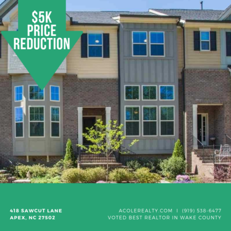 Price Reduction by 5k in APEX, NC!
