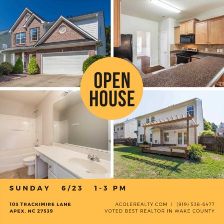 OPEN HOUSE on SUNDAY 6/23 in APEX, NC!