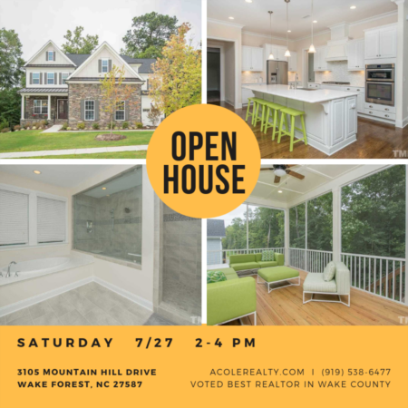 Open house - Saturday 2-4pm in WAKE FOREST!