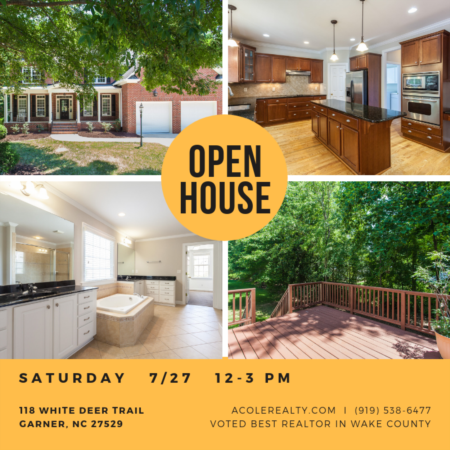 *OPEN HOUSE* this Saturday 12-3pm in Garner!