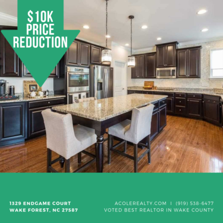 *Price Reduction!* A $10,000 Price adjustment has just been made on 1329 Endgame Court, Wake Forest