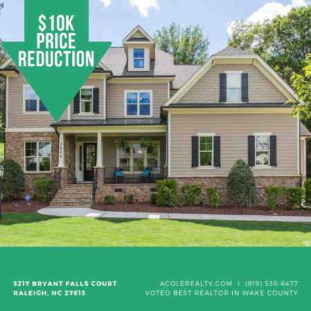 A $10,000 Price adjustment has just been made on 3217 Bryant Falls Court, Raleigh