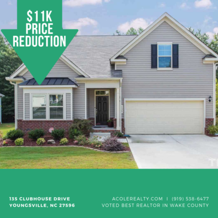 A $11,000 Price adjustment has just been made on 135 Clubhouse Drive, Youngsville