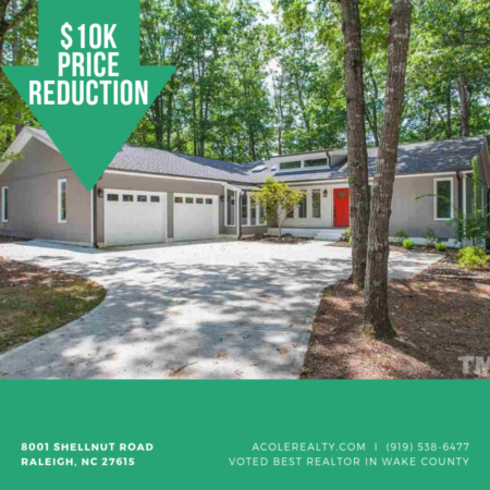 Update: A $10,000 Price adjustment has just been made on 8001 Shellnut Road, Raleigh