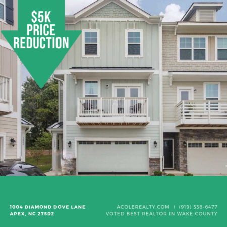 A $5,000 Price adjustment has just been made on 1004 Diamond Dove Lane, Apex