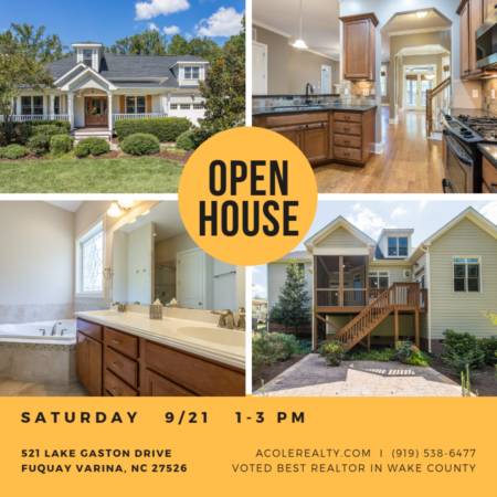 *OPEN HOUSE* SATURDAY   9/21   1-3 PM in Fuquay!