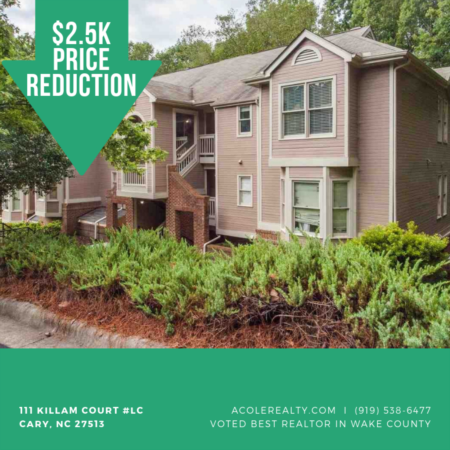 *PRICE REDUCTION* 2.5k off Cary Condo!
