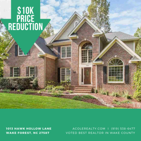 A $10,000 Price adjustment has just been made on 1013 Hawk Hollow Lane, Wake Forest