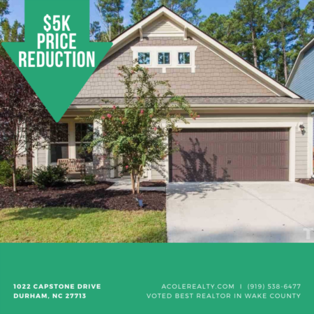 A $5,000 Price adjustment has just been made on 1022 Capstone Drive, Durham