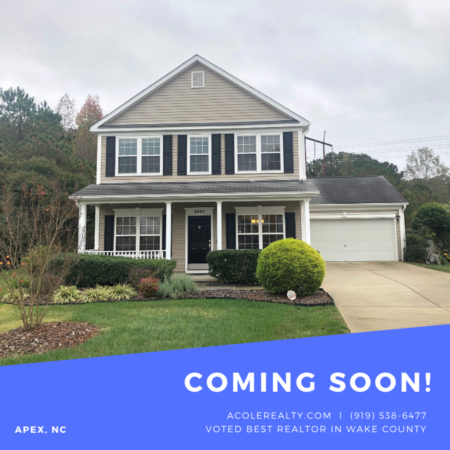 *COMING SOON* Apex home with cul-de-sac lot