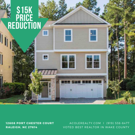A $15,000 Price adjustment has just been made on 12608 Port Chester Court, Raleigh