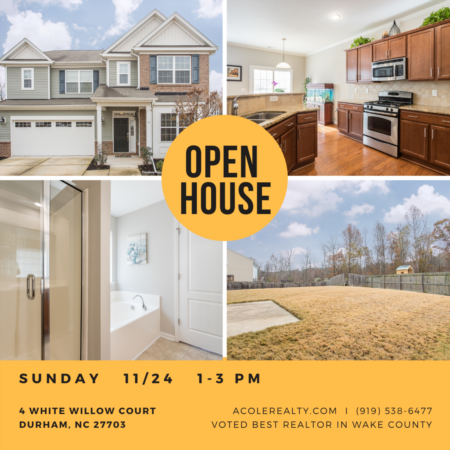 OPEN HOUSE: Sunday, November 24th from 1-3pm