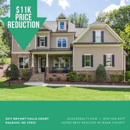 A Price adjustment has just been made on 3217 Bryant Falls Court, Raleigh