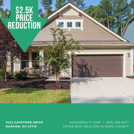 *PRICE REDUCTION* A Price adjustment has just been made on 1022 Capstone Drive, Durham!