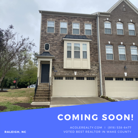 *COMING SOON* End Unit Townhome located in a great Raleigh location!