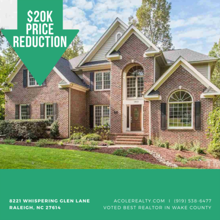 A $20,000 Price adjustment has just been made on 8221 Whispering Glen Lane, Raleigh