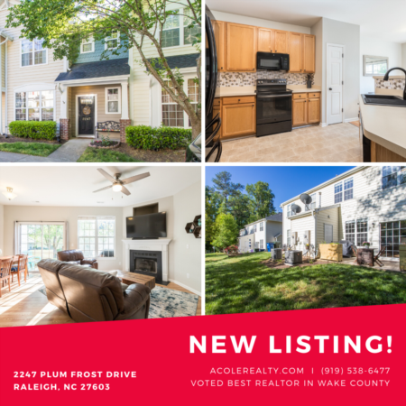 *NEW LISTING*  Beautiful 3 bedroom townhome just minutes from downtown Raleigh!