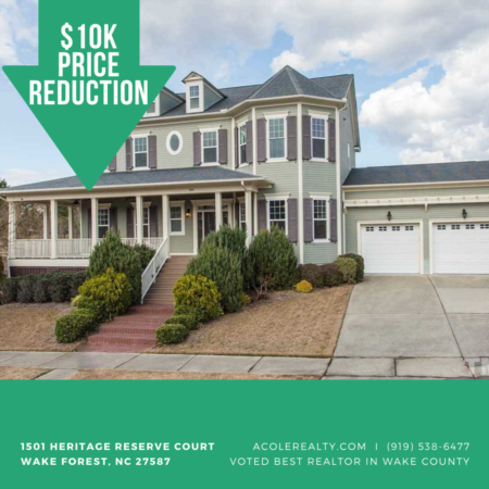 A $10k Price adjustment has just been made on 1501 Heritage Reserve Court, Wake Forest